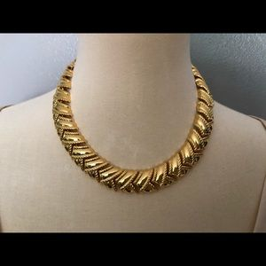 Gold Tone Chunky Statement Necklace